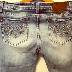 Light Wash ReRock Flares with Embellished Pockets